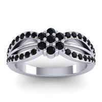 Simple Floral Pave Kalikda Black Onyx Ring in Palladium