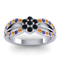 Simple Floral Pave Kalikda Black Onyx Ring with Blue Sapphire and Citrine in 14k White Gold