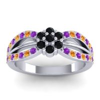 Simple Floral Pave Kalikda Black Onyx Ring with Citrine and Amethyst in 14k White Gold