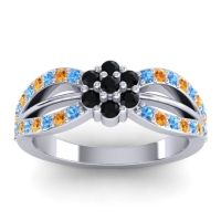 Simple Floral Pave Kalikda Black Onyx Ring with Citrine and Swiss Blue Topaz in 14k White Gold