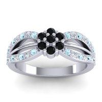 Simple Floral Pave Kalikda Black Onyx Ring with Diamond and Aquamarine in Platinum
