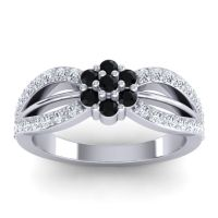 Simple Floral Pave Kalikda Black Onyx Ring with Diamond in 18k White Gold