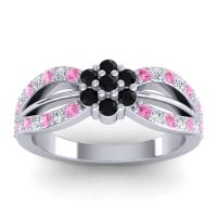 Simple Floral Pave Kalikda Black Onyx Ring with Diamond and Pink Tourmaline in Palladium