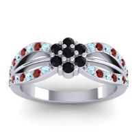 Simple Floral Pave Kalikda Black Onyx Ring with Garnet and Aquamarine in 14k White Gold