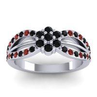 Simple Floral Pave Kalikda Black Onyx Ring with Garnet in 14k White Gold