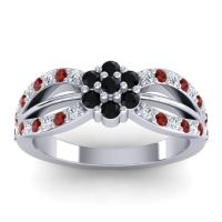 Simple Floral Pave Kalikda Black Onyx Ring with Garnet and Diamond in 18k White Gold