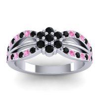 Simple Floral Pave Kalikda Black Onyx Ring with Pink Tourmaline in Platinum