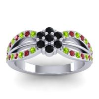 Simple Floral Pave Kalikda Black Onyx Ring with Ruby and Peridot in 18k White Gold
