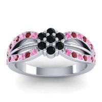Simple Floral Pave Kalikda Black Onyx Ring with Ruby and Pink Tourmaline in Palladium