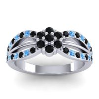 Simple Floral Pave Kalikda Black Onyx Ring with Swiss Blue Topaz in 14k White Gold