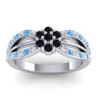 Simple Floral Pave Kalikda Black Onyx Ring with Swiss Blue Topaz and Diamond in 18k White Gold