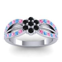 Simple Floral Pave Kalikda Black Onyx Ring with Swiss Blue Topaz and Pink Tourmaline in Palladium