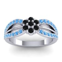 Simple Floral Pave Kalikda Black Onyx Ring with Swiss Blue Topaz in Platinum