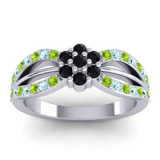 Simple Floral Pave Kalikda Black Onyx Ring with Aquamarine and Peridot in 14k White Gold