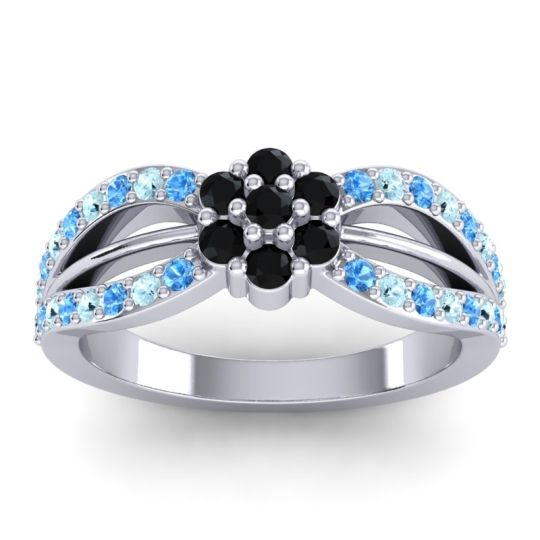 Simple Floral Pave Kalikda Black Onyx Ring with Aquamarine and Swiss Blue Topaz in 18k White Gold
