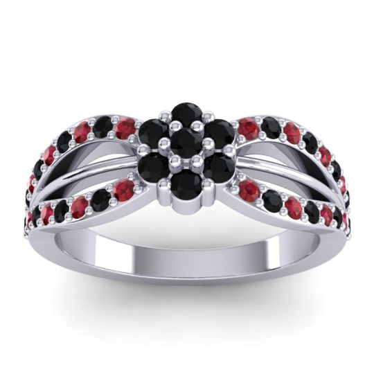 Simple Floral Pave Kalikda Black Onyx Ring with Ruby in 18k White Gold