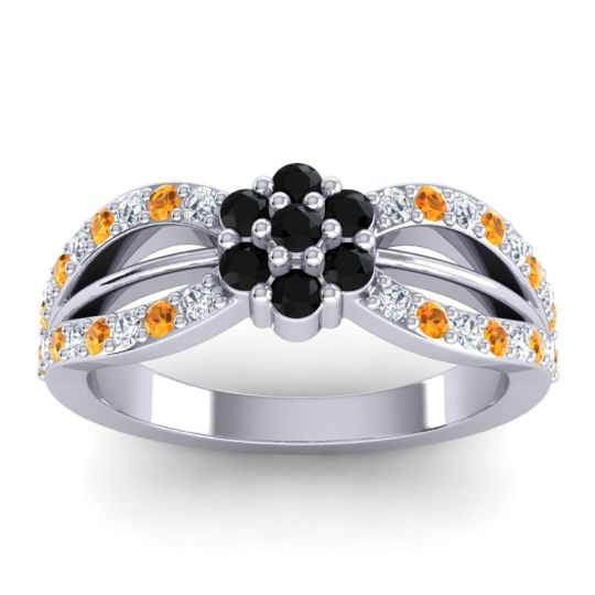 Simple Floral Pave Kalikda Black Onyx Ring with Citrine and Diamond in 18k White Gold