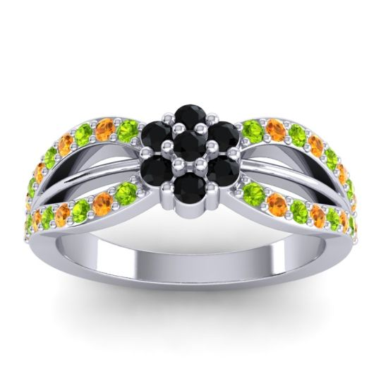 Simple Floral Pave Kalikda Black Onyx Ring with Citrine and Peridot in 18k White Gold