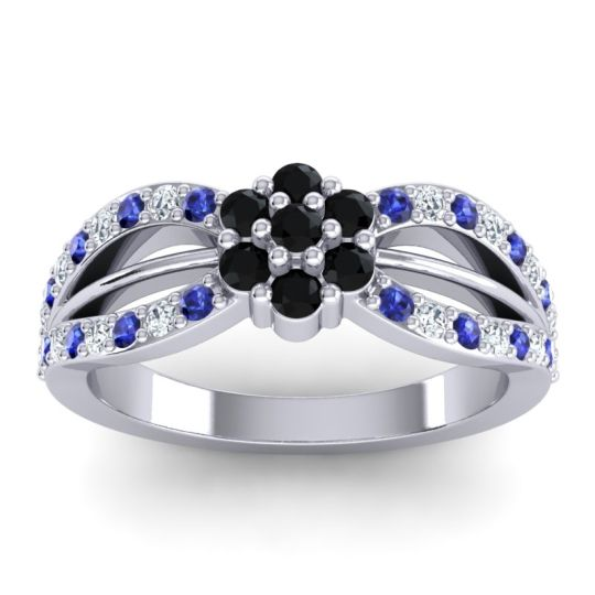 Simple Floral Pave Kalikda Black Onyx Ring with Diamond and Blue Sapphire in Platinum
