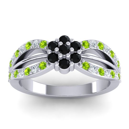 Simple Floral Pave Kalikda Black Onyx Ring with Diamond and Peridot in Platinum