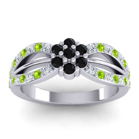 Simple Floral Pave Kalikda Black Onyx Ring with Peridot and Diamond in Platinum