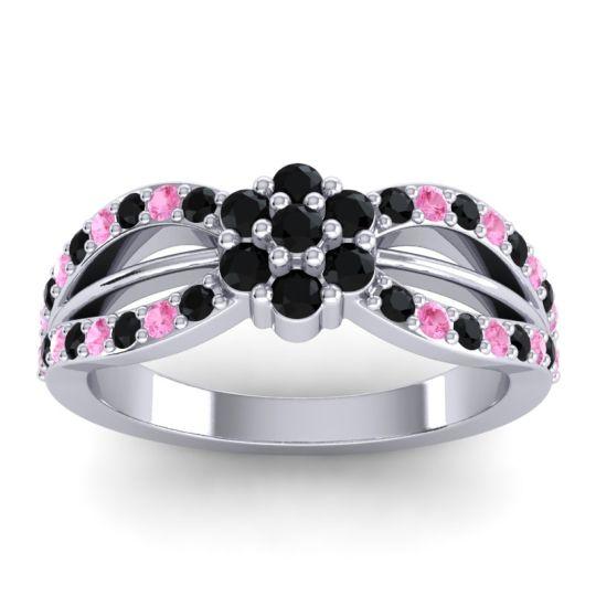 Simple Floral Pave Kalikda Black Onyx Ring with Pink Tourmaline in Palladium