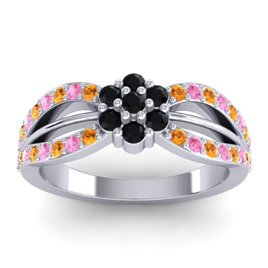 Simple Floral Pave Kalikda Black Onyx Ring with Pink Tourmaline and Citrine in 18k White Gold
