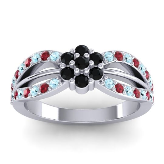 Simple Floral Pave Kalikda Black Onyx Ring with Ruby and Aquamarine in 18k White Gold