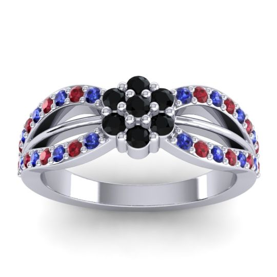 Simple Floral Pave Kalikda Black Onyx Ring with Ruby and Blue Sapphire in 18k White Gold