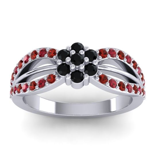 Simple Floral Pave Kalikda Black Onyx Ring with Ruby and Garnet in 14k White Gold