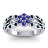 Simple Floral Pave Kalikda Blue Sapphire Ring with Aquamarine and Black Onyx in Platinum