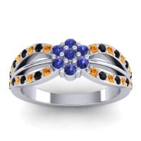 Simple Floral Pave Kalikda Blue Sapphire Ring with Black Onyx and Citrine in 18k White Gold