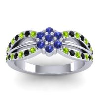 Simple Floral Pave Kalikda Blue Sapphire Ring with Black Onyx and Peridot in 18k White Gold