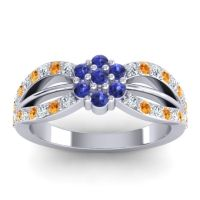 Simple Floral Pave Kalikda Blue Sapphire Ring with Citrine and Diamond in Platinum