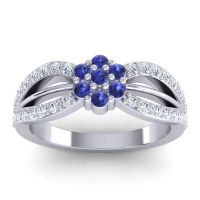 Simple Floral Pave Kalikda Blue Sapphire Ring with Diamond in 14k White Gold