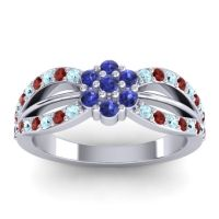 Simple Floral Pave Kalikda Blue Sapphire Ring with Garnet and Aquamarine in Platinum