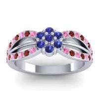 Simple Floral Pave Kalikda Blue Sapphire Ring with Garnet and Pink Tourmaline in 18k White Gold