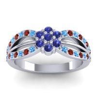 Simple Floral Pave Kalikda Blue Sapphire Ring with Garnet and Swiss Blue Topaz in 14k White Gold