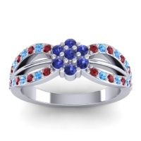 Simple Floral Pave Kalikda Blue Sapphire Ring with Swiss Blue Topaz and Ruby in 18k White Gold