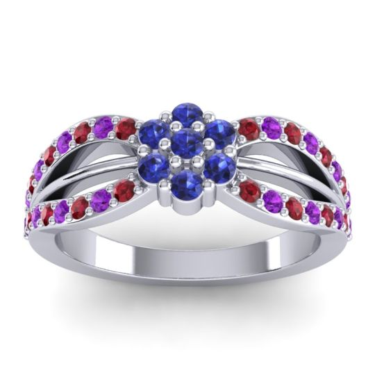 Simple Floral Pave Kalikda Blue Sapphire Ring with Amethyst and Ruby in Palladium
