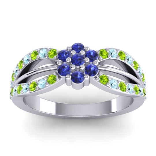 Simple Floral Pave Kalikda Blue Sapphire Ring with Aquamarine and Peridot in 18k White Gold