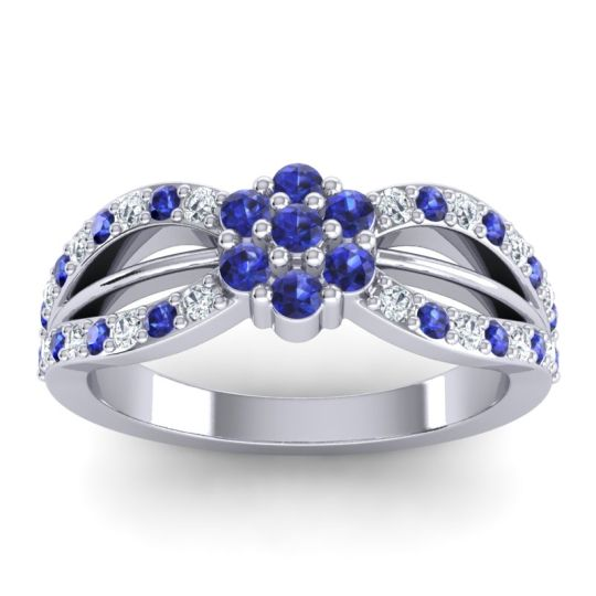 Simple Floral Pave Kalikda Blue Sapphire Ring with Diamond in Platinum