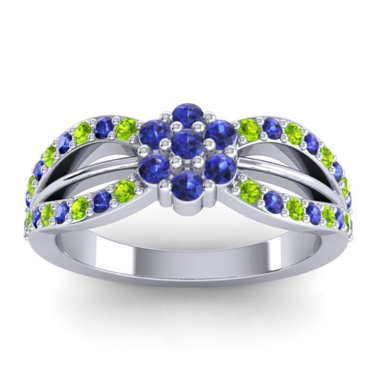 Simple Floral Pave Kalikda Blue Sapphire Ring with Peridot in 18k White Gold