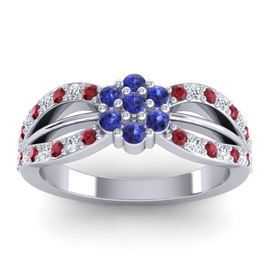 Simple Floral Pave Kalikda Blue Sapphire Ring with Diamond and Ruby in 14k White Gold