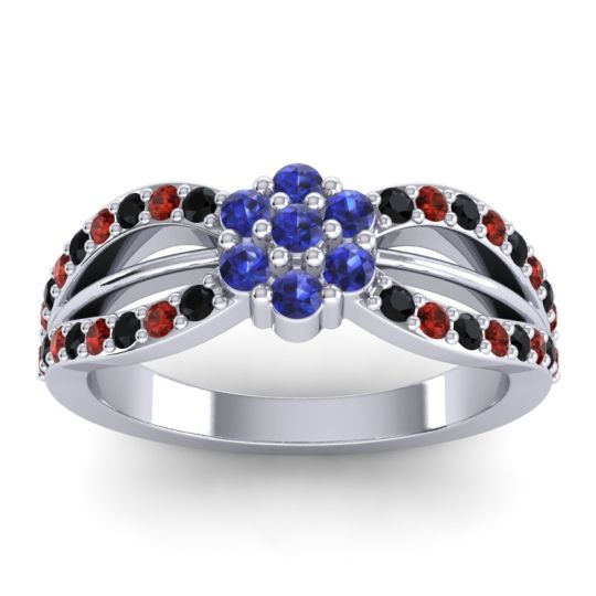 Simple Floral Pave Kalikda Blue Sapphire Ring with Garnet and Black Onyx in 18k White Gold