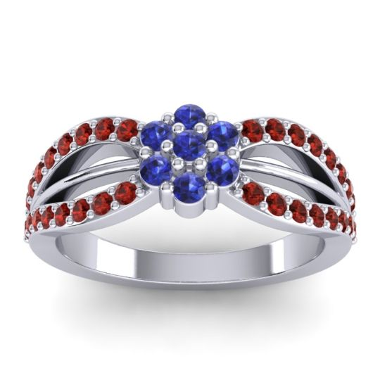 Simple Floral Pave Kalikda Blue Sapphire Ring with Garnet in 18k White Gold