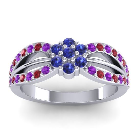 Simple Floral Pave Kalikda Blue Sapphire Ring with Ruby and Amethyst in Palladium