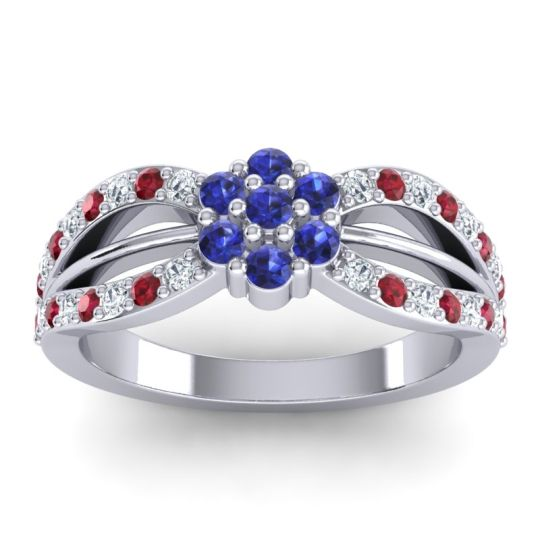 Simple Floral Pave Kalikda Blue Sapphire Ring with Ruby and Diamond in Palladium