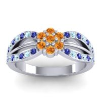 Simple Floral Pave Kalikda Citrine Ring with Aquamarine and Blue Sapphire in 14k White Gold