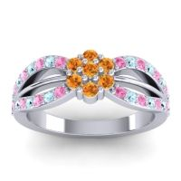 Simple Floral Pave Kalikda Citrine Ring with Aquamarine and Pink Tourmaline in 14k White Gold